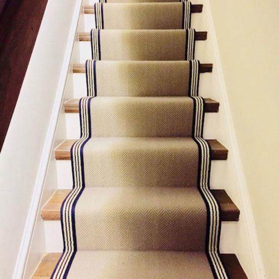chevron stair runner with striped binding