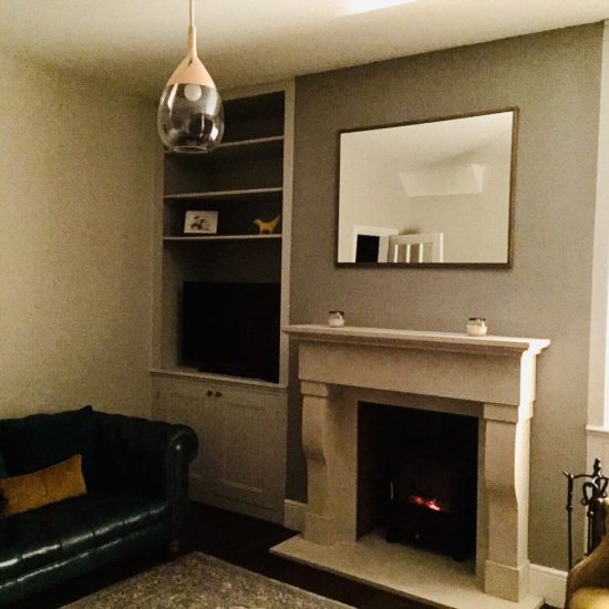 fireplace and bespoke alcove joinery