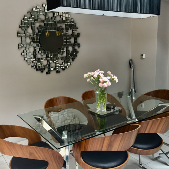 decorative fabric light over dining table