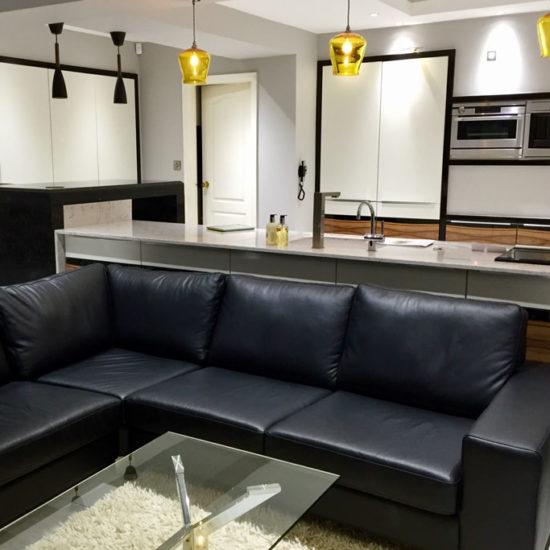 leather corner sofa adjacent to kitchen