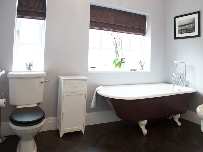 roll top bath painted in farrow and ball pelt