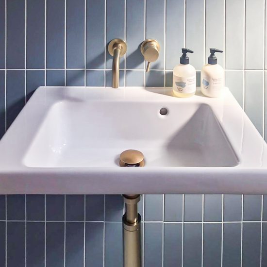 GSI Ceramica sink with Crosswater brass wall taps