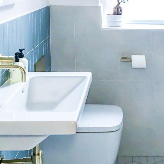 white and blue modern shower room