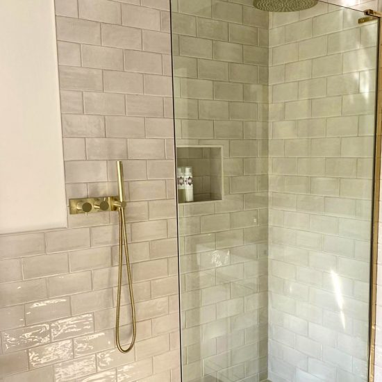 shower area with brushed brass Crosswater fittings