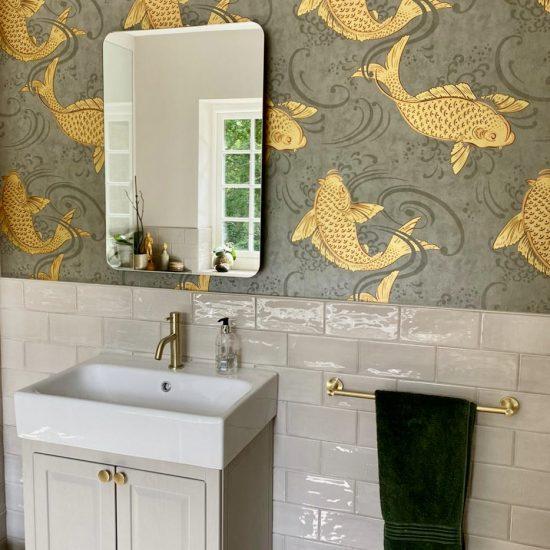 Osborne & Little Derwent wallpaper and vanity storage