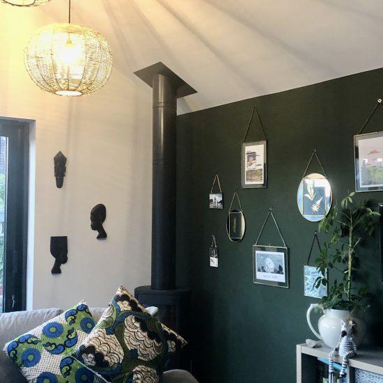 dark green gallery wall
