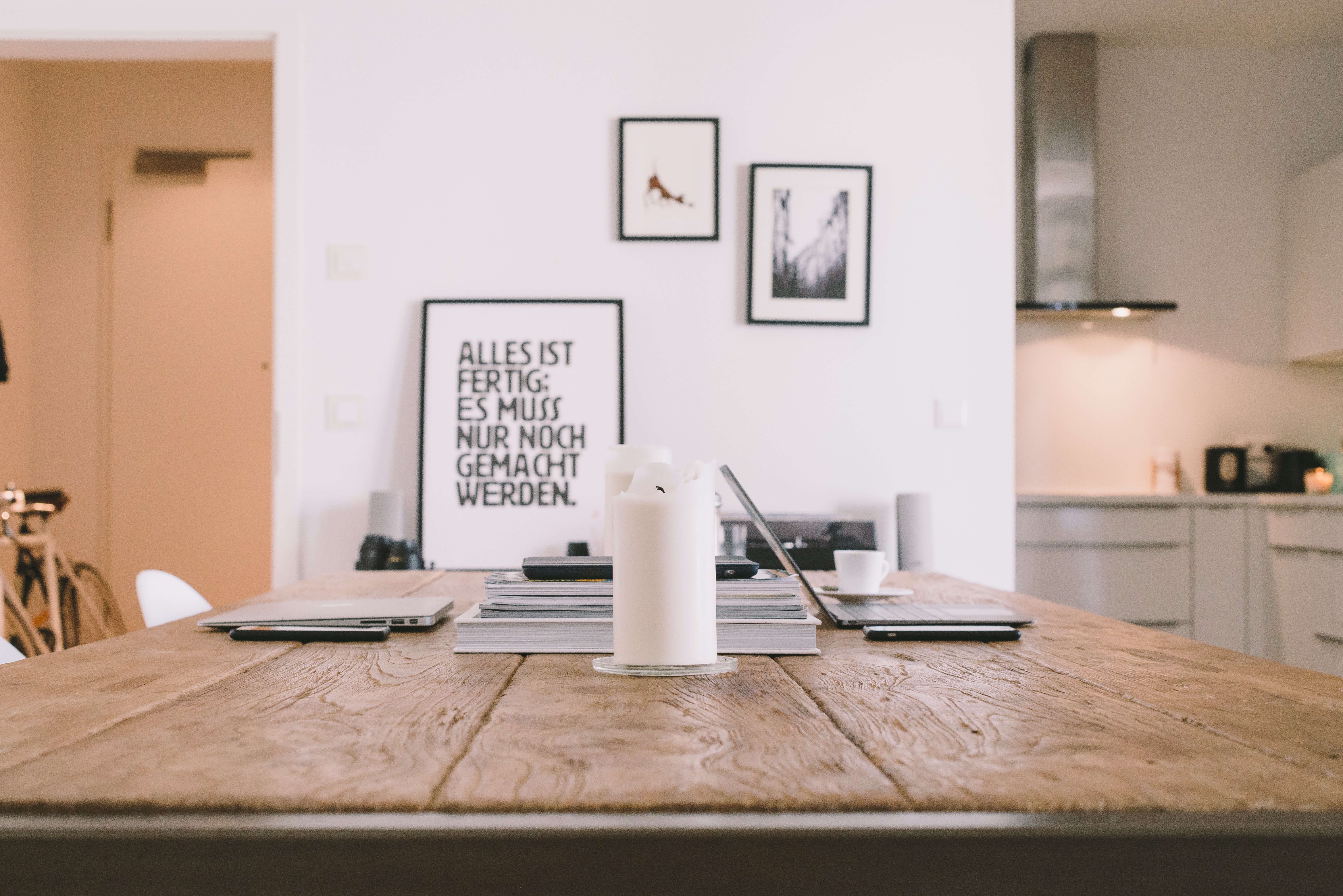Kitchen table as home office desk
